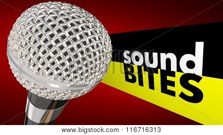 Sound Bites words next to a microphone to illustrate interview quotes or catchy audio sayings taken out of context