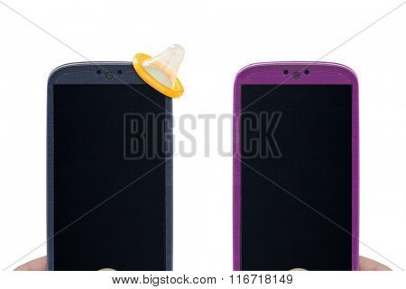 Smartphones and sex protection - Male and female smartphones on white background