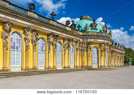POTSDAM, GERMANY - SEPTEMBER 17, 2013: Exterior of Sanssouci Palace. Completed in 1747, it is the former summer palace of Frederick the Great King of Prussia.
