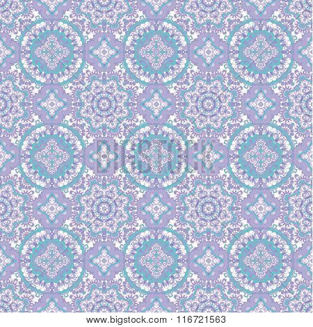 Seamless Tiled Pattern Royal Luxury Classical Damask Vector Design. Pastel Blue Lilac Background.