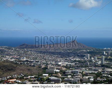 Diamondhead And The City Of Honolulu Of Oahu On A Nice Day