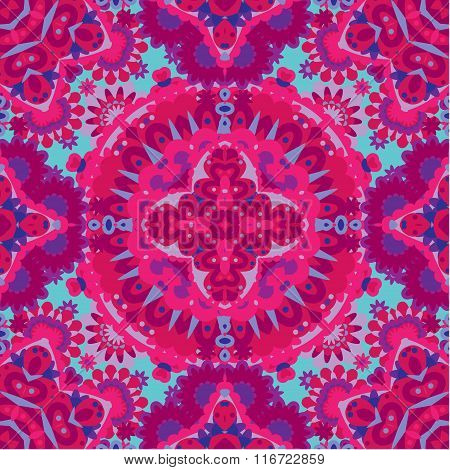 Colorful Lace Pattern With Ornate Elements. Pink Blue Abstract Background. Vector Stock Illustration