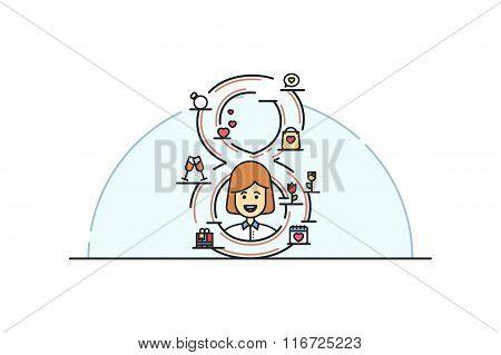 Womens day  illustration. Line art. Stock vector.