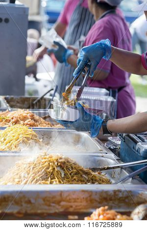 Fresh Noodles Being Served At A Street Stall