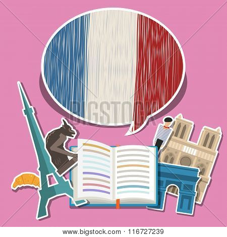 Concept of travel or studying French.