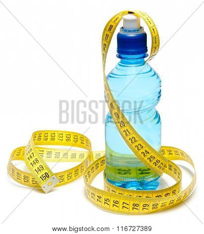 Blue bottle of water with centimeter tape isolated