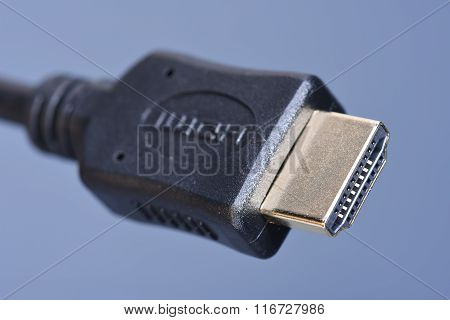 Macro of cable standard HDMI with selective focus