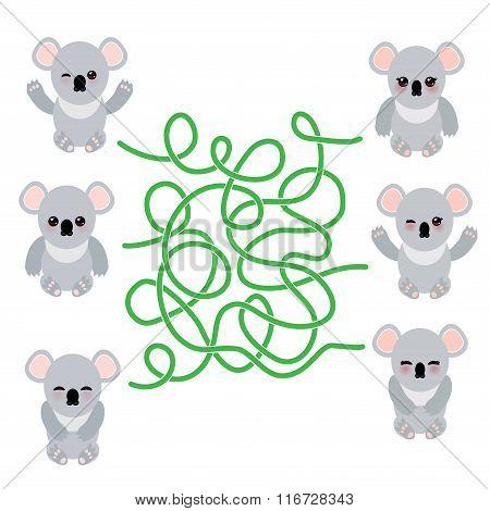Funny cute koala set on white background. labyrinth game for Preschool Children. Vector