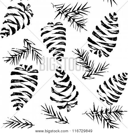 Pine cones seamless pattern. Christmas gift wrapping. Vector illustration