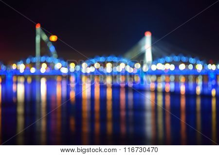Defocused bokeh background of Riga and Daugava river Latvia poster