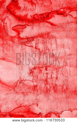 Abstract Red Watercolor Valentines Day Background On Paper Texture