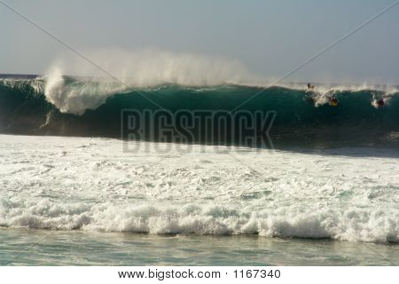 surfing the banzai pipeline on the north shore of oahu poster