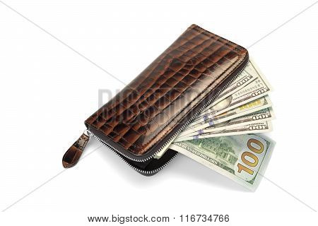 Unzipped Stuffed Long  Leather Wallet With Cash White Isolated Closeup