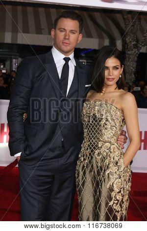 LOS ANGELES - FEB 1:  Channing Tatum, Jenna Dewan-Tatum at the Hail, Caesar World Premiere at the Village Theater on February 1, 2016 in Westwood, CA