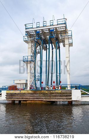 Oil terminal. Equipment for tankers loading on the pier in Varna port Bulgaria poster
