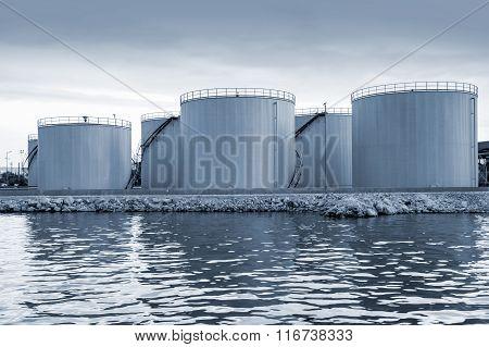 Shining Oil Tanks On The Sea Coast In Varna Port