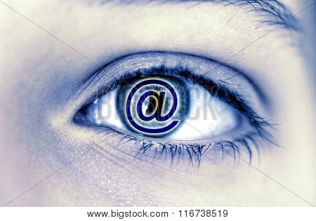At Sign In A Woman Eye