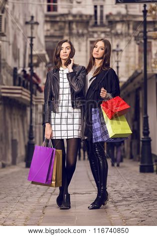 Two Fashion Models Shopping