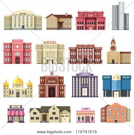 Flat colorful vector city buildings set. Icon background concept design. Architecture construction:
