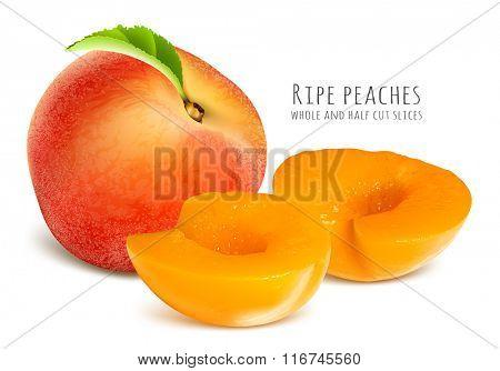 Ripe peaches, whole and half cut slices. Fully editable handmade mesh.  Vector illustration.