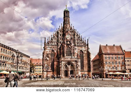 Nurnberg, Germany - July 13 2014: Hauptmarkt, The Central Square Of Nuremberg, Bavaria, Germany.