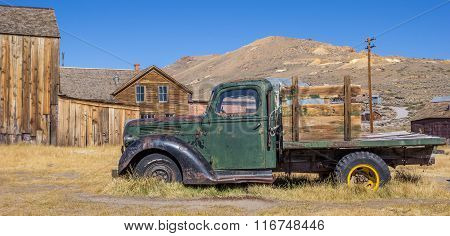 Panorama Of An Old Rusty Car In Bodie