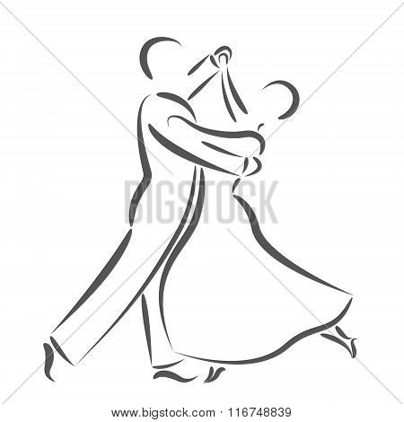 Dancing couple logo isolated on white background.