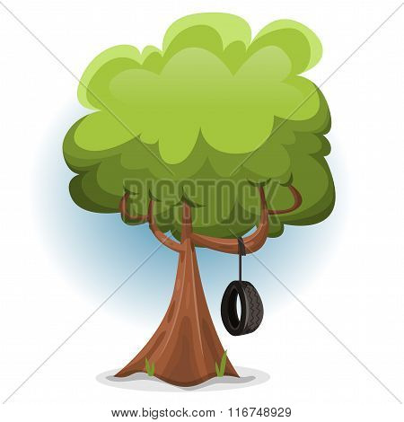 Funny Spring Tree With Swing Tire