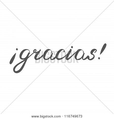 Gracias. Thank you in Spanish, brush hand lettering.