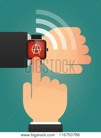 Hand Pointing A Smart Watch With An Anarchy Sign