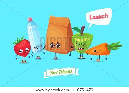 Set of lunch characters. Vector cute cartoons