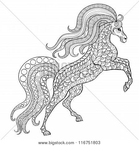 Hand drawn horse for antistress Coloring Page with high details