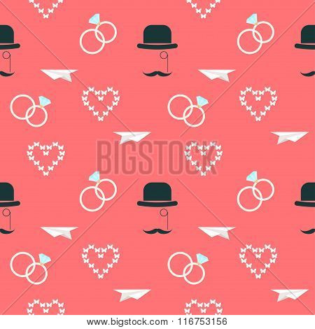 Wedding Seamless Romantic Decorative Pattern Background With Cartoon Elements