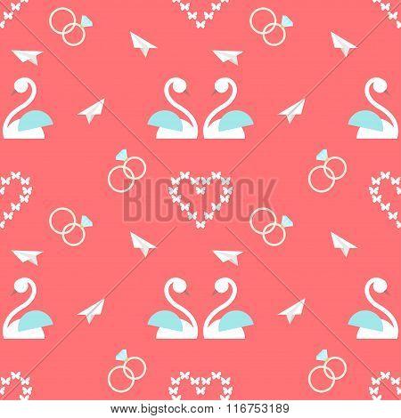 Wedding Seamless Romantic Decorative Pattern Background With Cartoon Elements