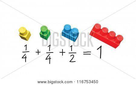Mathematics simple exercise. Explanation on plastic blocks.