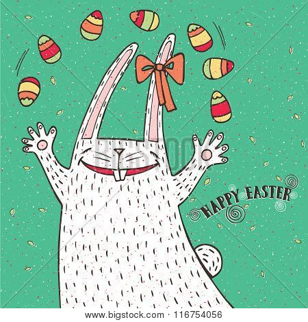 Happy Easter Bunny And Easter Eggs