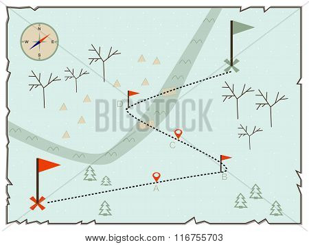 Illustration of creative treasure map flat winter design