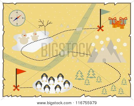 Illustration of creative treasure map flat design.