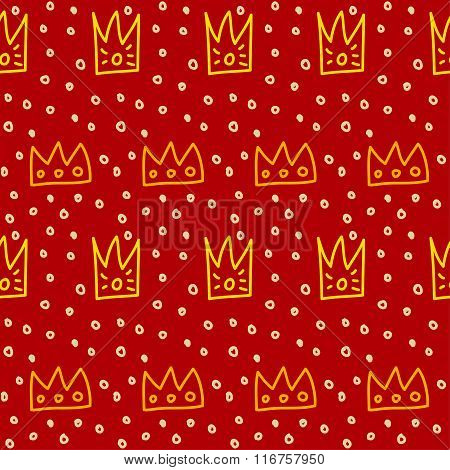 Hand Drawn Doodle Crown Seamless Pattern Background.