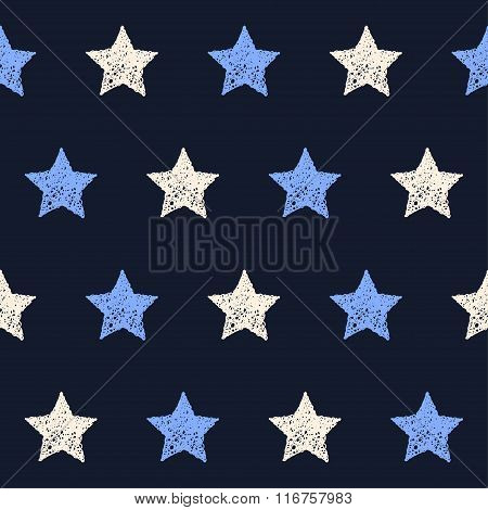 Hand Drawn Doodle Stars Seamless Pattern Background