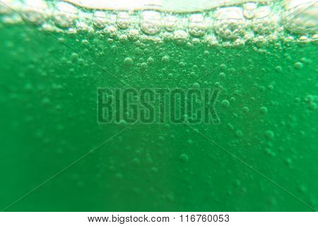 Green Bubbles Liquid With White Background