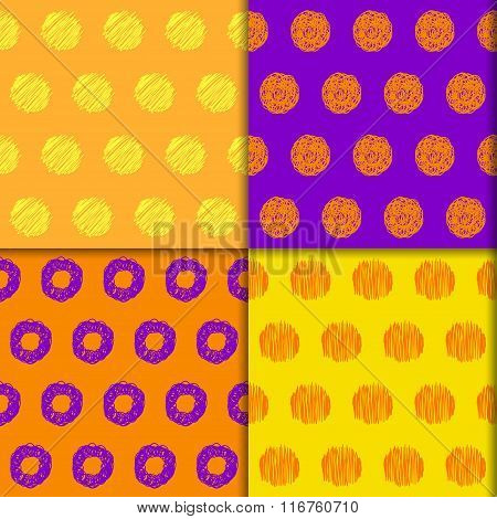Doodle Seamless Pattern Collection. Hand Drawn Halloween Colored Set
