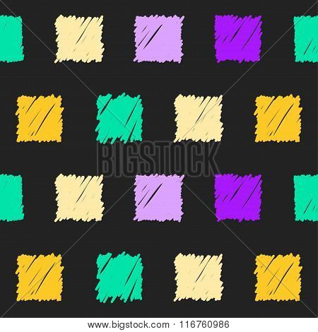 Doodle Seamless Squares Pattern Background. Hand Drawn Simple Graphic Elements