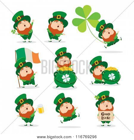 Collection of Leprechaun for Saint Patricks design.