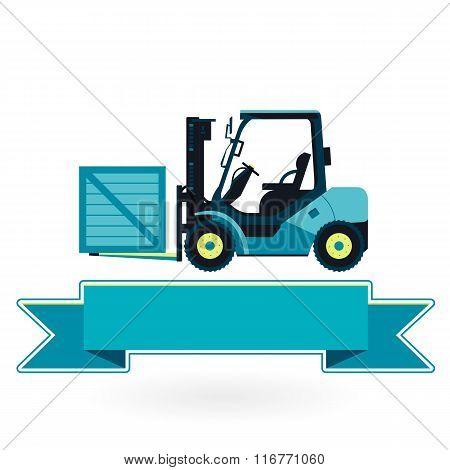 Blue fork lift loader on white. Loading in storage.