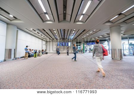 HONGKONG,CHINA - MAY 29: Interior of Hong Kong International Airport on May 29th 2015 in Hongkong. Hong Kong International Airport is one of busiest airport in the world.