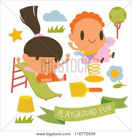 vector cartoon set of kids. Post cards, kids games, book illustrations, logos or logotypes. vector colorful children collection. Funny playground activity