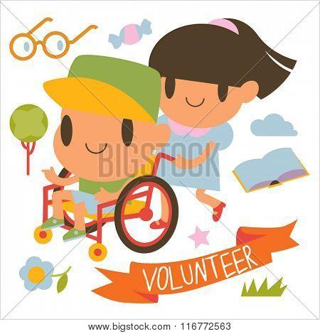 Cartoon lovely cartoon volunteer girl and boy in wheelchair.