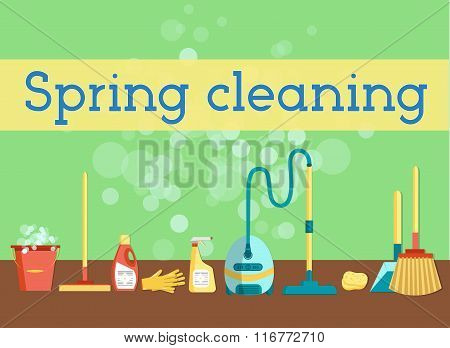 Spring cleaning minimal and colorful flat vector graphics for web site, poster, banner, flier or pri