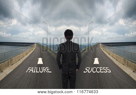 Business Man Has To Decide Between Two Different Way, Choose Failure Or Success Road